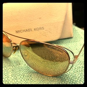 Michael Kors Rose Gold Aviator Sunglasses MK-1024